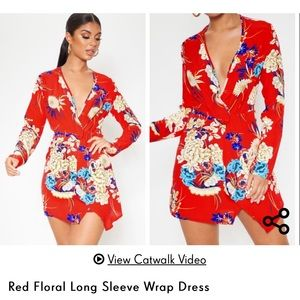 Pretty little thing red floral dress!
